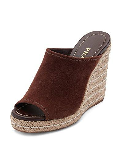 (Prada Suede Wedge Espadrille Mule Sandal Shoes 40 Brown)