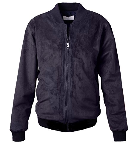 Bomber Suede Jacket - Mens Fashion Faux Suede Bomber Jacket (Small, Black)