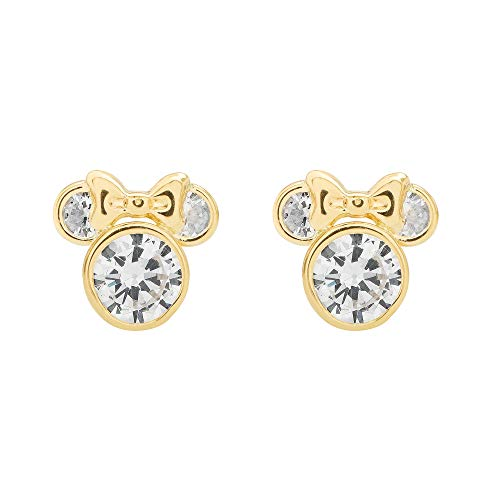 Disney Minnie Mouse Gold Cubic Zirconia Stud Earrings