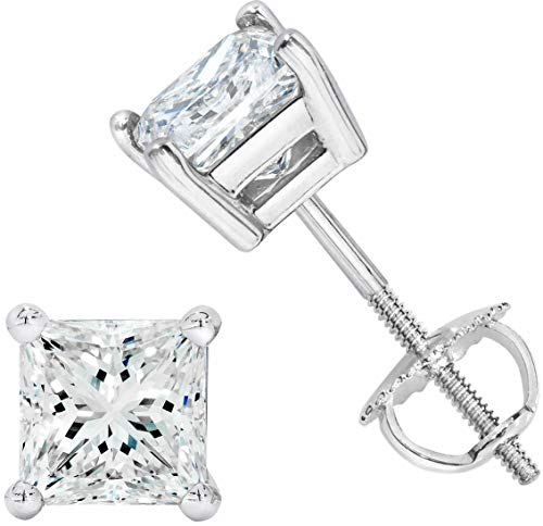 Screw Back Closure - NYC Sterling Unisex Princess Cubic Zirconia Screw Back Stud Earring 3 to 8 MM (3MM)