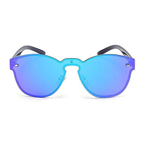 Femmes Hommes UV Couleur De Air Vert Protection designer Forme Lunettes brillants Pièce En Une nouveauté Conduite Rétro Style Cadre Bleu Soleil Sans la Ronde nuances Élégant Voyager Pour Plein UZwxHqB7F
