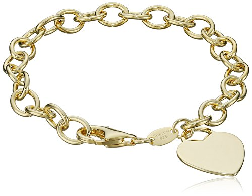 Yellow Gold-Plated Heart-Tag Bracelet, 7""