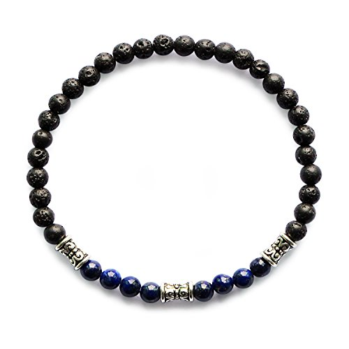 Me&Hz Lapis Lazuli Black Lava Chakra Beaded Bracelet Stretch Spirit Healing Blue Stone Bead Yoga Bracelet -