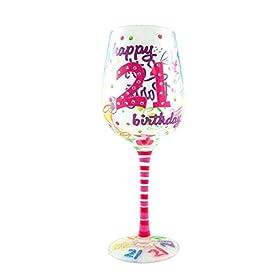 Top Shelf 21st Birthday Wine Glass – Hand Painted
