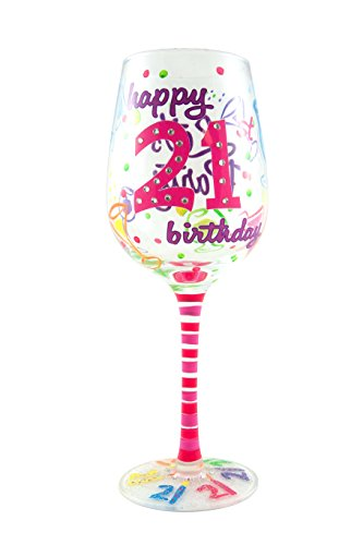 Top Shelf 21st Birthday Wine Glass - Hand Painted - Unique Gift Idea