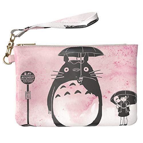 Lex Altern Makeup Bag 9.5 x 6 inch Pink My Neighbor Totoro Anime Cute Cartoon Kawaii Storage Wristband Girl Design Print Purse Pouch Cosmetic Travel PU Leather Case Toiletry Women Organizer Bathroom ()