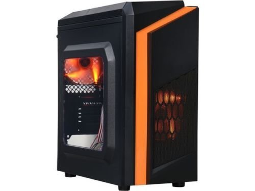 DIYPC DIY-F2-O Black/Orange USB 3.0 Micro-ATX Mini Tower Gaming Computer Case w by DIYPC