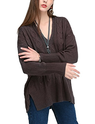 JCBABA Women Knitted Sweater, Women Casual V Neck Loose Fit Knit Sweater Pullover Top