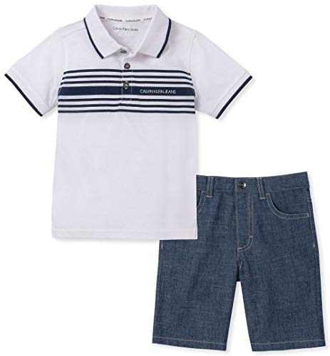 Calvin Klein Boys' Little 2 Pieces Polo Shorts Set, White/Blue, 5 -