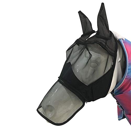 (sweetyhomes Horse Fly Mask Detachable Mesh with Nasal Cover Zipper Full Face Anti-Mosquito Nose Extension Four Seasons Universal Flies Extended Pads Hook Loop Fastener Removable Durable)