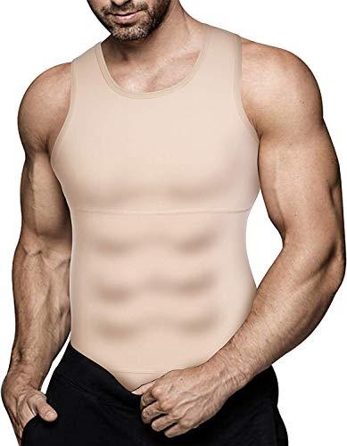 Gotoly Herren Unterhemden Shapewear Workout Tank Tops Kompressionsshirt Muskelshirt Abnehmen Body Shaper Sport Bauch Weg Shirt Unterhemd Feinripp