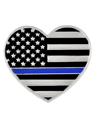 PinMart Thin Blue Line Police Officer American Flag USA Heart Enamel Lapel Pin