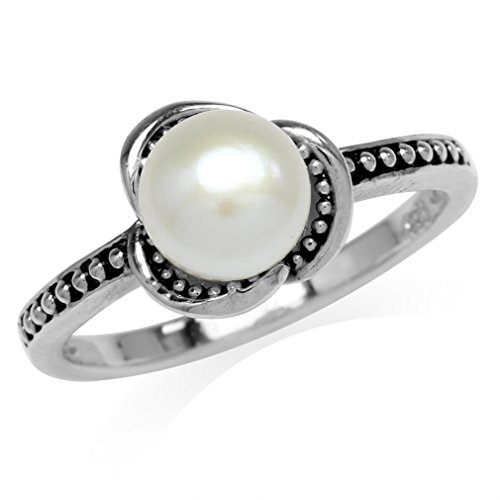 Mother Pearl Flower Ring - 7MM Cultured Freshwater White Pearl 925 Sterling Silver Flower Ring Size 10.5