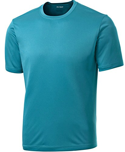 - DRIEQUIP Men's Short Sleeve Moisture Wicking Athletic T-Shirt-TropicBlue-M
