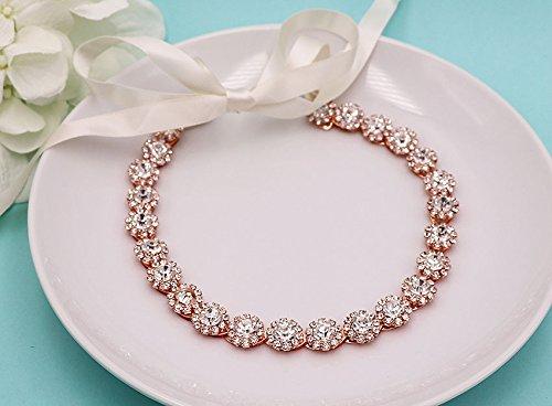 4da3cf495d1f18 Amazon.com  Rose Gold Crystal Wedding Ribbon Headband  Handmade