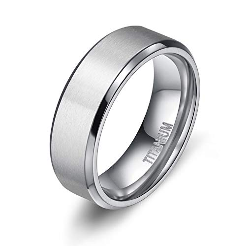 Titanium Wedding Band Ring - TIGRADE 8MM Men's Titanium Ring Wedding Band with Flat Brushed Top and Polished Finish Edges(11)
