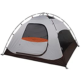 ALPS Mountaineering Meramac 4 Person Tent, Sage/Rust 119 Easy assembly free-standing two-pole design with shock corded fiberglass poles Polyester fly resists water and UV damage, while providing an awning over each door Fully equipped with storage pockets, gear loft, stakes, guy ropes and two zippered window doorways
