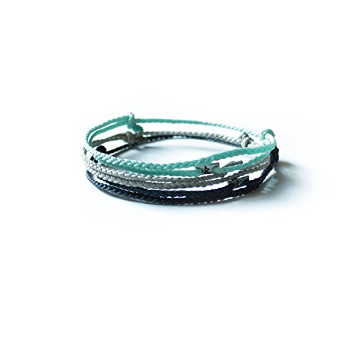 Wakami Simple Handmade Karma Ankle Etsy Bracelets Surfer Girl Hatha Bikram Yoga Men Women (Silver Mint Blue)