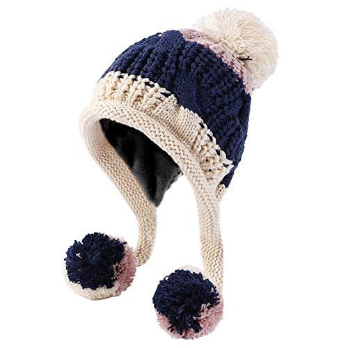 Ski Hat Beanie Knit (HUAMULAN Women Skull Winter Peruvian Beanie Hat Ski Cap Fleece Lined Ear Flaps Pompoms)