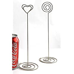 NXG 20 Pack 8.75 Inch Tall Place Card Holders Creative Photo Holder Chrome Plated Metal Funny Heart and Vortex Clip Desktop Decoration Memo Holder Stand Tabletop Card Holder