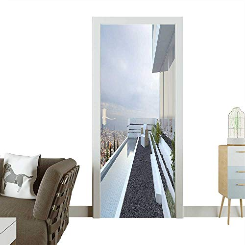 3D Photo Door Murals Contemporary Luxury House with Panoramic View Patio Pebbles Pool White Baby Blue Grey Easy to Clean and applyW38.5 x H77 INCH (Patio Lyrics Song The)
