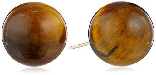 14k Yellow Gold 12mm Tiger-Eye Stud Earrings (Tiger 14k Gold Yellow)