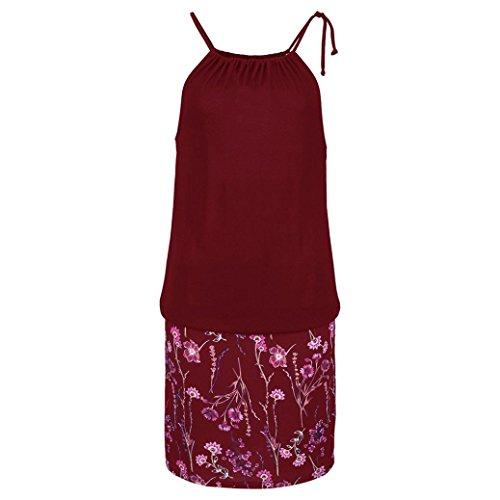 Rouge Robe Beikoard Robe imprime Femme Robe Jupe Femme Robes Longue t Robe Mini Vin HUqYSO