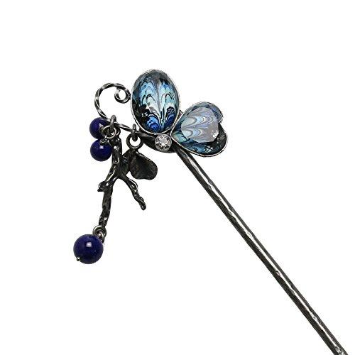 Tamarusan Blue Marble Butterfly Japanese Kanzashi Hair Stick Handmade Lapis Lazuli by TAMARUSAN