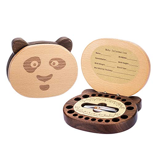 (Baby Tooth Keepsake Fairy Box Holder with Lanugo Bottle, AhfuLife Wooden Panda Shape Keepsake Box for First Lost Teeth, Cute Tooth Storage Holder Organizer, Baby Shower Gifts for Newborn, Boy & Girl)