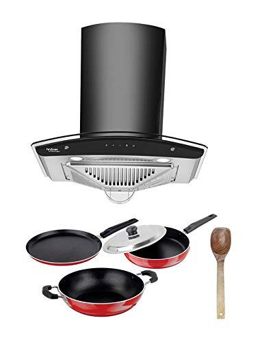 Hindware Zavio plus 60 Cm Wall Mounted Chimney (1200 M3/Hr Filter-less, Touch Control, Lifetime Warranty) & Free Non-Stick Kitchen Set, 5-Pieces