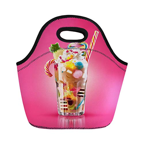 (Semtomn Lunch Bags Colourful Festive Cocktail Sweets Candy Jelly Colorful Array Neoprene Lunch Bag Lunchbox Tote Bag Portable Picnic Bag Cooler Bag)