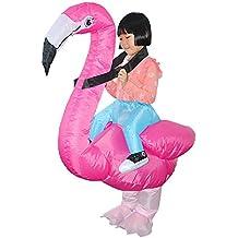 YOWESHOP Kids Flamingo Inflatable Costume Reider Cosplay Halloween Inflatable Suit Rose Pink