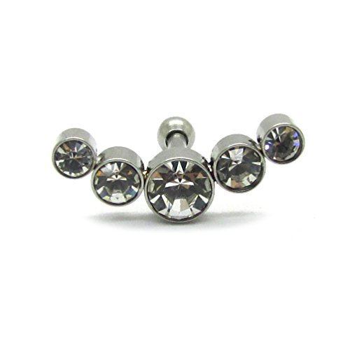 NewkeepsR Crescent 5 Jeweled Cartilage Cluster Earrings 16ga 6mm(1/4'') Surgical Grade 316L Steel Conch Rings Barbell Uppper Helix Stud Piercing