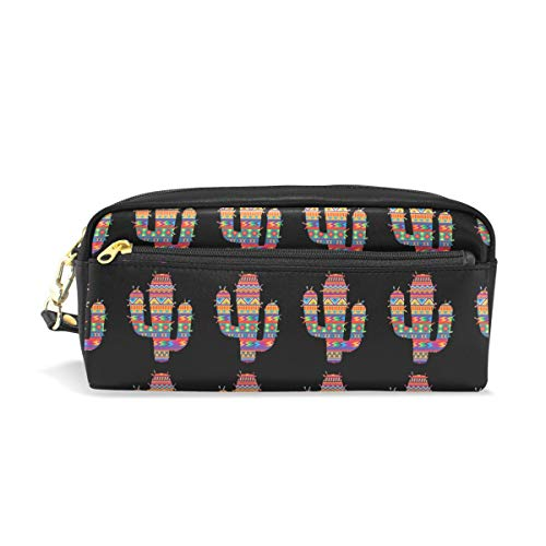 Mexican Spanish Style Cactus PU Leather Cosmetic Bag Makeup Pouch Pen Pencil Case Coin Purse Travel