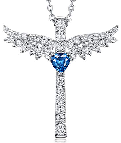 Re Besta Eternal Love Heart Jewelry Gifts for Women Created Blue Sapphire Angel Wing Cross Pendant Necklace Birthday Anniversary Gifts for Her for Wife Sterling Silver 18