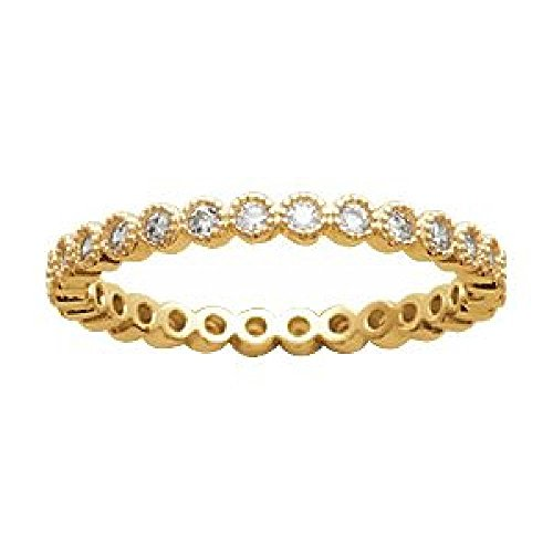 So Chic Jewels - Ladies 18k Gold Plated White Cubic Zirconia Eternity Wedding Band Ring - Size 9 by So Chic Jewels