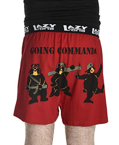 Going Commando Soft Comical Boxers for Men by LazyOne | Animal Pun Joke Underwear for Guys (X-Large)
