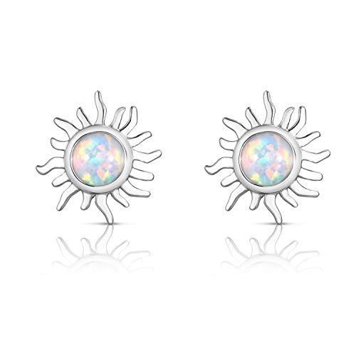 Unique Royal Jewelry 925 Sterling Silver Created Opal Celestial Fiery Sun Designer Pierced Post Stud Earrings. (Rhodium-Plated Sterling Silver)