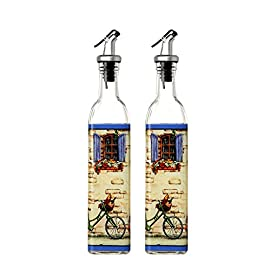 Olive Oil and Vinegar Dispensers - Oil and Vinegar Bottles with Lever Release Pourer, 2-Pack 17-Ounce Cruets 68 This set of high-style glass bottles are excellent for use with liquid beverages, ingredients, oil, vinegar, and much more. Made from high quality glass, featuring sophisticated artwork, airtight bottle stoppers, and pouring spouts with lever-release snap lids. Sporting a classic and elegant look befitting any respectable kitchen or restaurant.