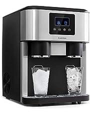 Klarstein Eiszeit Crush máquina de hielos - 3 en 1: cubitos, hielo picado, agua helada, 2 tamaños de cubitos, 15-18 kg/24h, pantalla LCD, depósito de 1,8 litros, volumen para 600 g de hielo, plateado