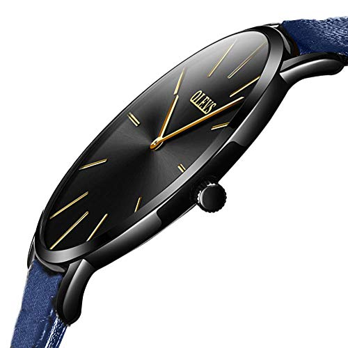 OLEVS Minimalist Ultra Thin Large Face Dress Leather Wrist Watches for Women Ladies Waterproof Slim Simple Casual Black Big Dial Gold Hand Analog Quartz Watch with Female Royal Blue Strap Classic Gift