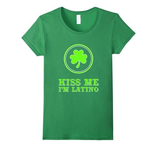 [Womens FUNNY KISS ME IM LATINO T-SHIRT St Patricks Day Gift Medium Grass] (Kiss Me Im Irish Costume)