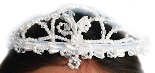 Beautiful First Communion Veil with Beaded Trim and Wired Ruffled Pouf