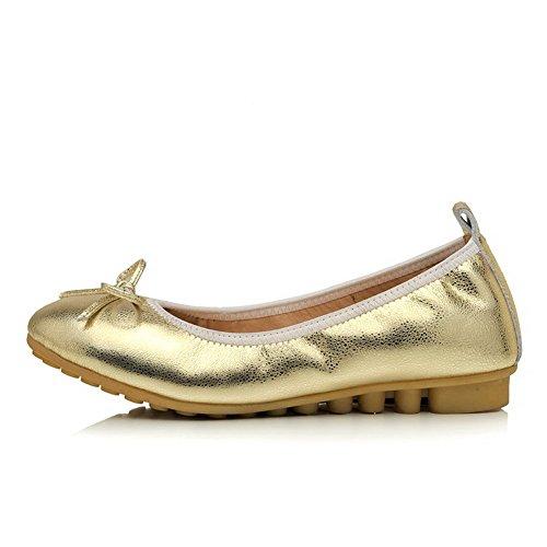 Amoonyfashion Kvinna Diverse Färg Mjukt Material Låga Klackar Rund Sluten Tå Pumpar-shoes Guld