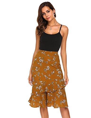 Zeagoo Women's Bohemian Style High Waist Floral Print Slim Ruffles Midi Mermaid Summer Skirt