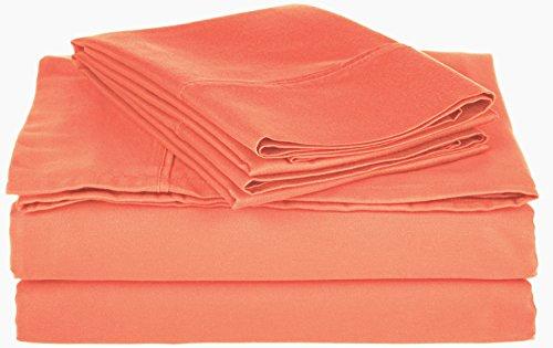 Cotton Blend 800 Thread Count , deep Pocket, Soft, Wrinkle Resistant Queen Bed Sheet Set, Solid, Coral