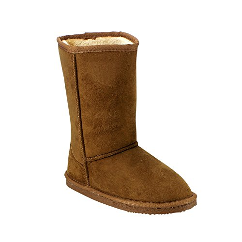 [LINK GE49 Girl's Mid Calf Pull-On Style Winter Snow Boots, Color:TAN, Size:4 M US Big Kid] (Brown Boots For Kids)