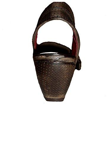Spiral Damen Keilsandale Leder Antikoptik 7754 braun Braun