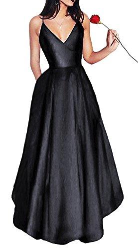 f5c11054999 XJLY Line Spaghetti Straps V Neck Satin Bridesmaid Evening Dresses With  Pocket