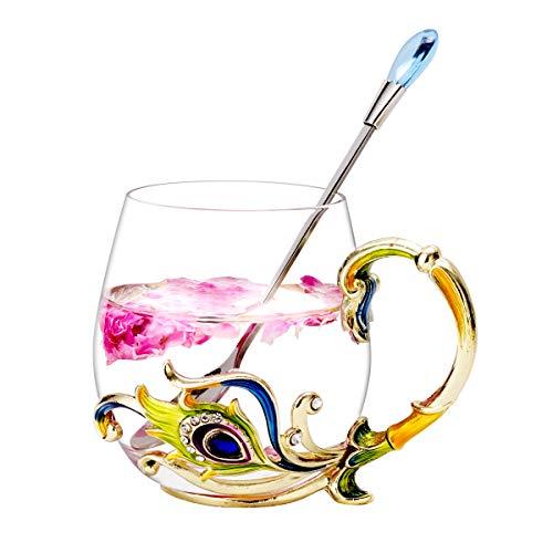 Unique 2019 New Birthday Presents Mother Day Gift for Women Girl Boyfriend Novelty Flower Glass Tea Cups Coffee Mug
